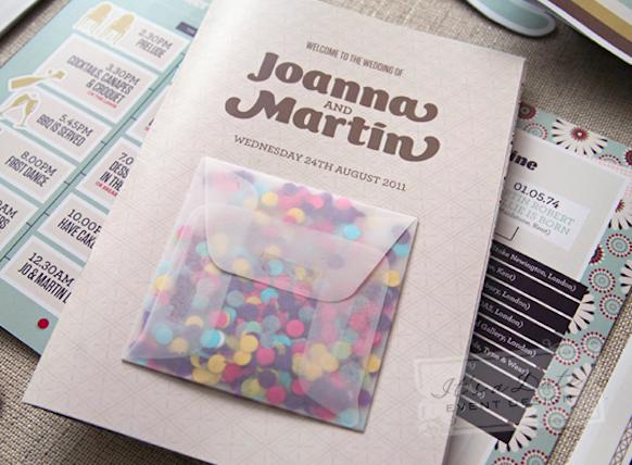 sobres de Invitacion de bodas con confetti