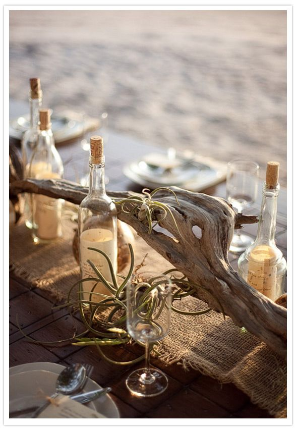 Centros de mesa para boda en la playa originales y creativos