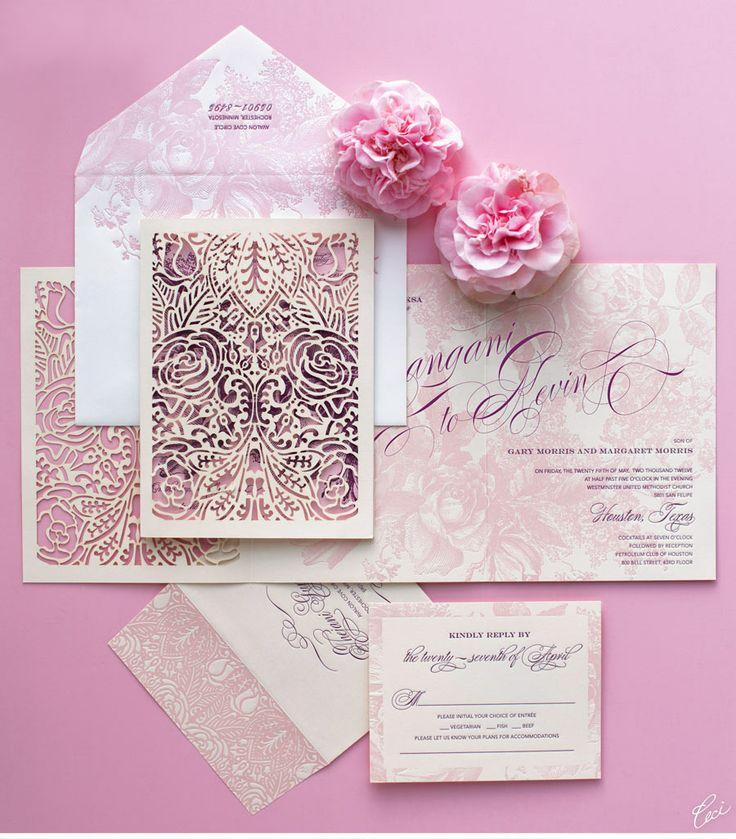 Tarjeta de bodas rosa