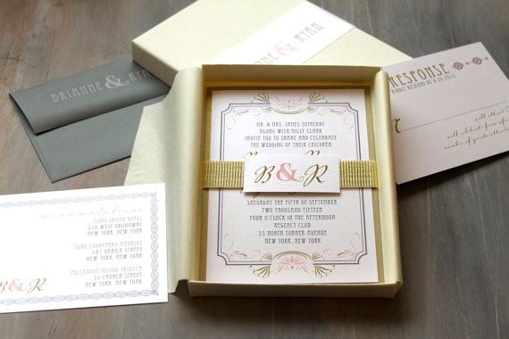 Invitaciones de boda en cajita modernas