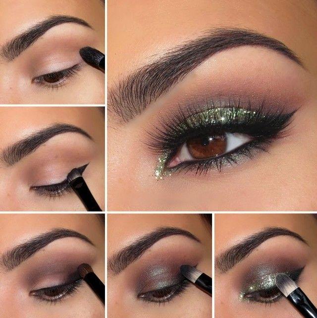 maquillaje para ojos marrones paso a paso con brillo