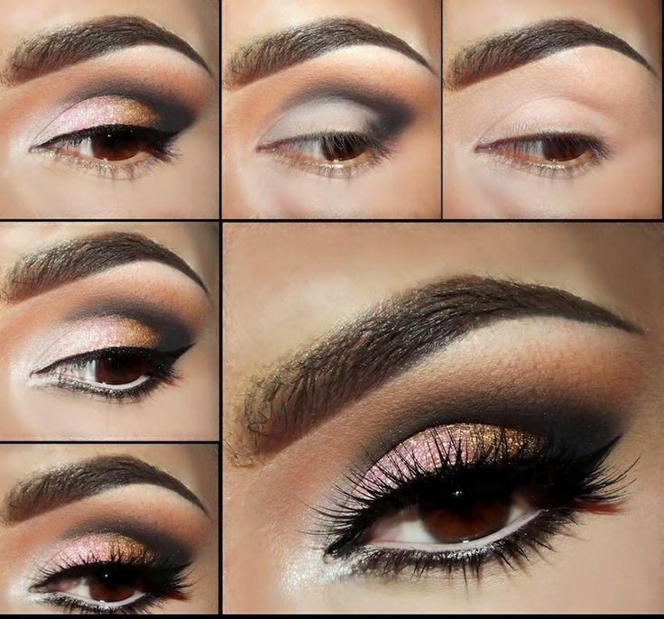 Maquillaje de ojos marrones paso a paso con efecto ahumado para fiestas