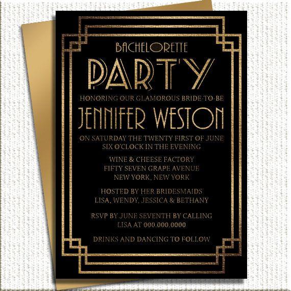 Invitaciones para bodas glam Hollywood con mucho estilo mezclando el dorado y el color negro