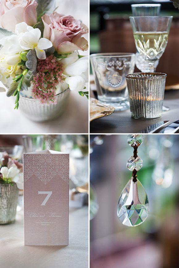 Decoración sencilla para bodas glam románticas