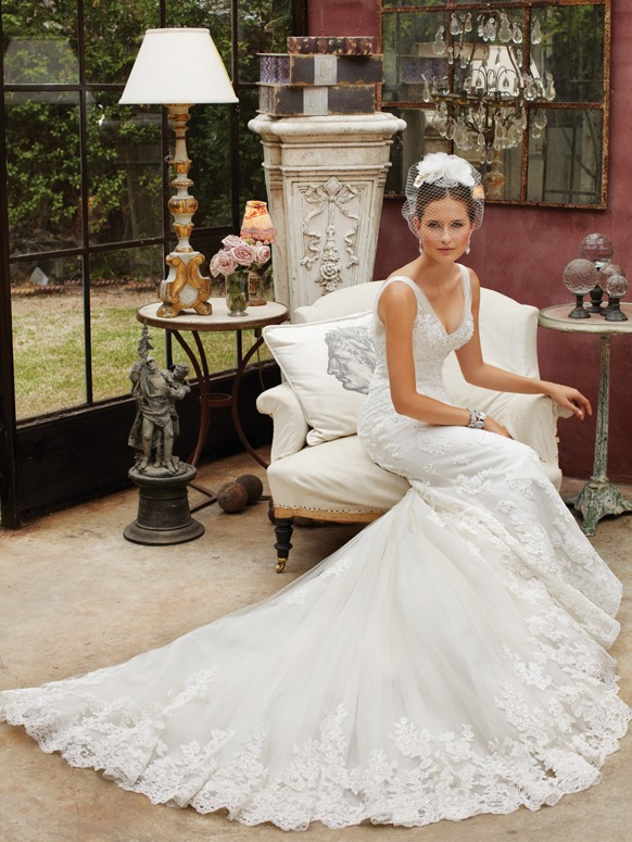 Vestido de novia de Sofia Tolli vintage glam de Hollywood