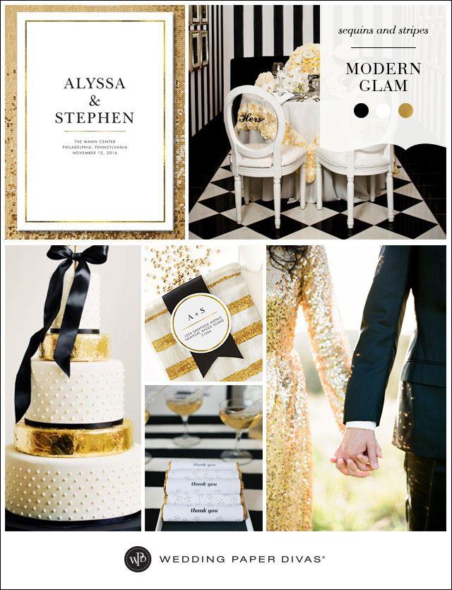 El blanco, el dorado y el negro es un trío de ases para las bodas glam modernas