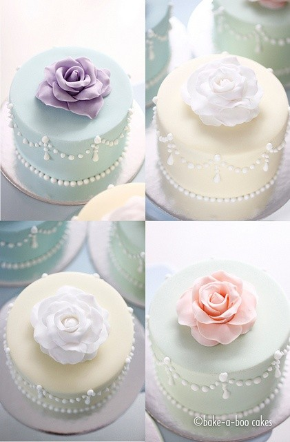 Mini cakes con rosas de colores | Romantic rose mini cakes By Bake-a-boo Cakes NZ