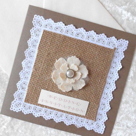 Invitación casera rústica y con pinceladas vintage para boda
