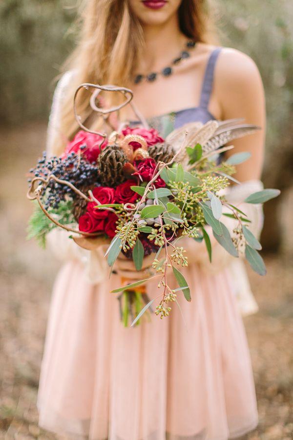Ramo muy colorido para novia bohemia