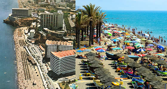 El mediterráneo bañando Torremolinos | Las 10 mejores playas de España para boda o luna de miel