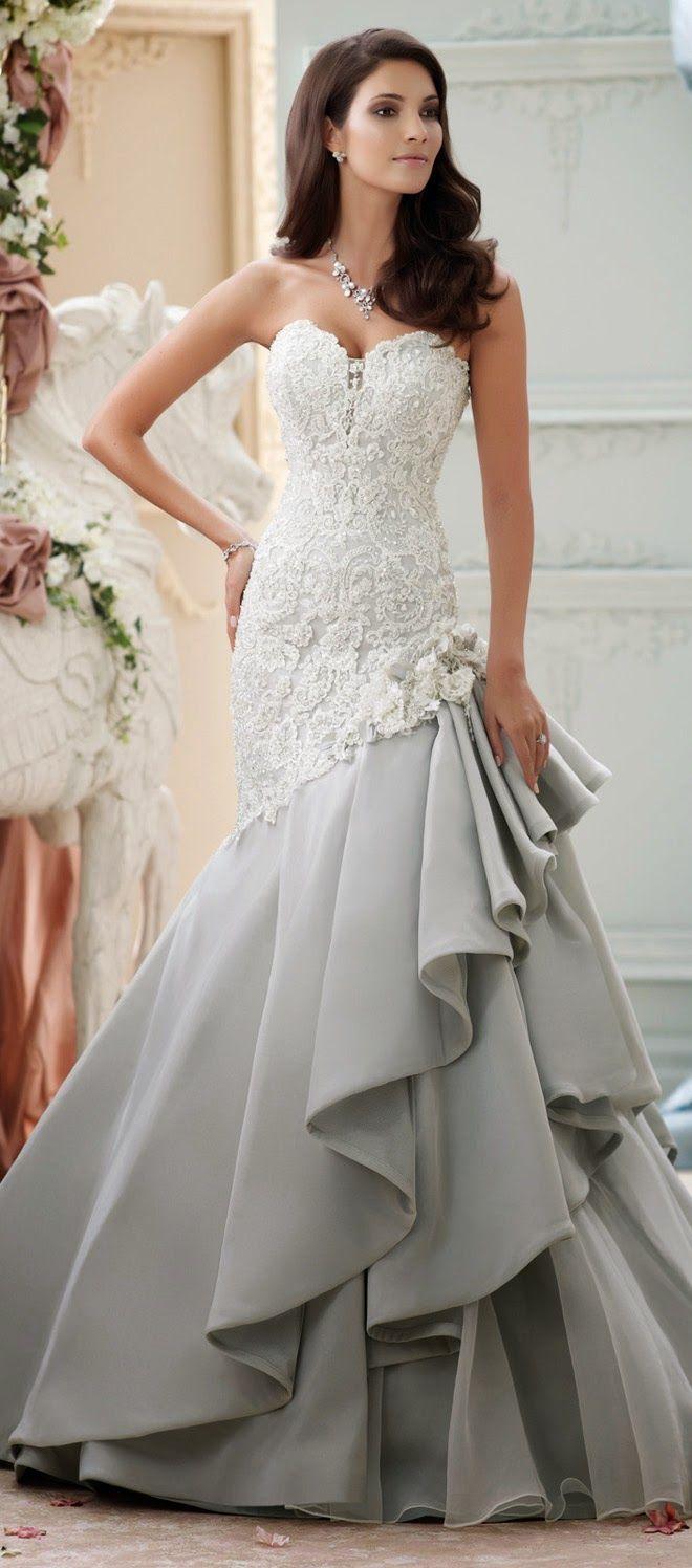 La nueva tendencia del color gris en un vestido David Tutera | vestidos de novias 2015