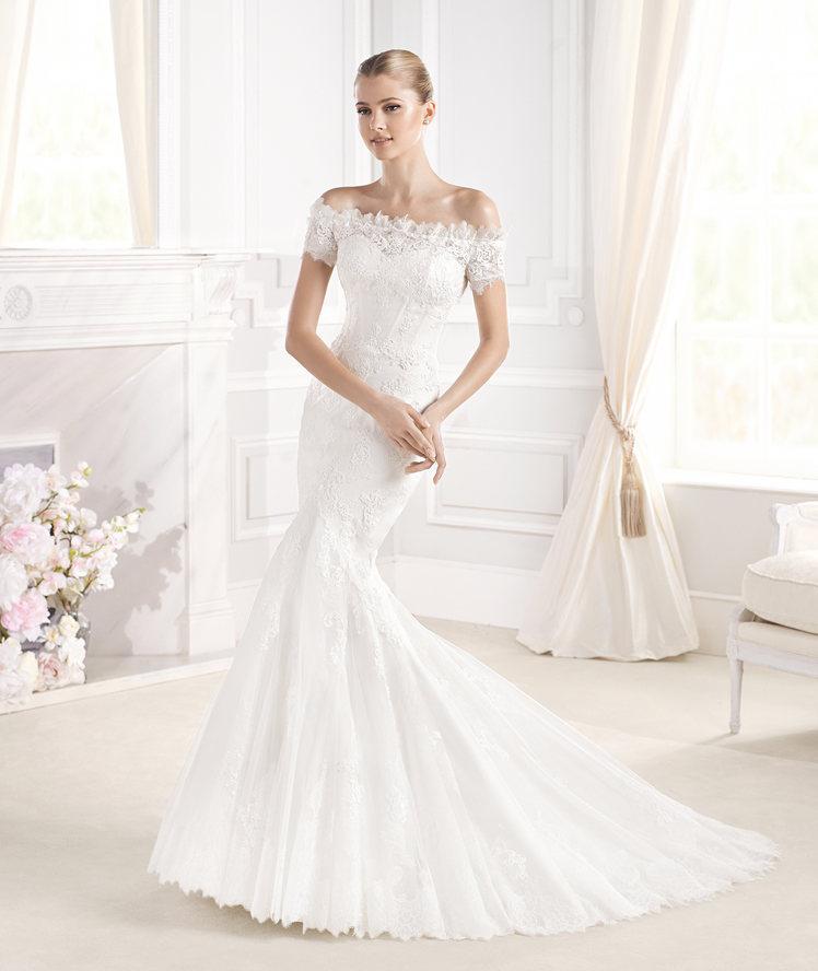 Marca tu silueta con este vestido de novia de La Sposa con un corte sirena y un escote precioso y perfecto