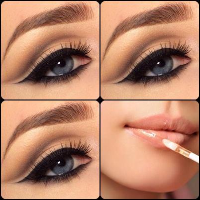 Ojos delineados en color negro, cejas marcadas y brillo de labios...¡el maquillaje perfecto!
