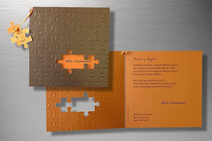 Diviértete haciendo el puzzle y descubriendo el mensaje de esta invitación de boda