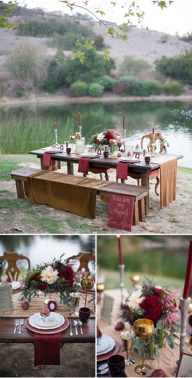 Decoración de mesas para boda en color Marsala