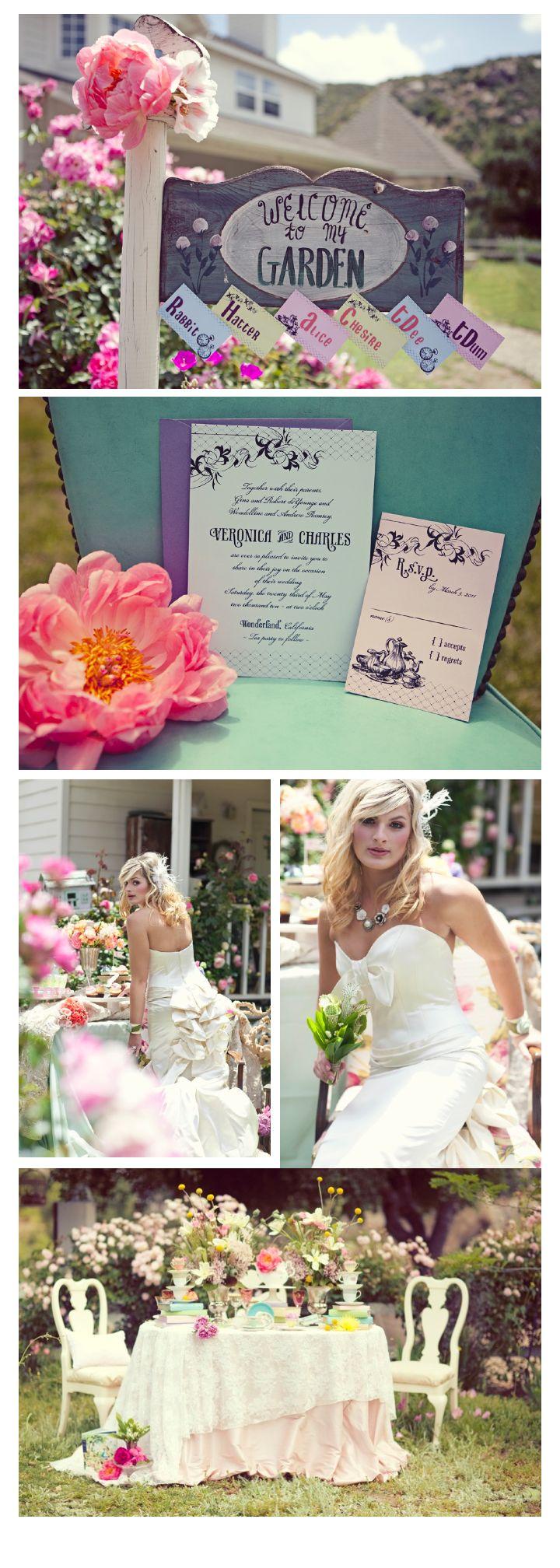 jardín decorado para recibir una boda temática de cuento