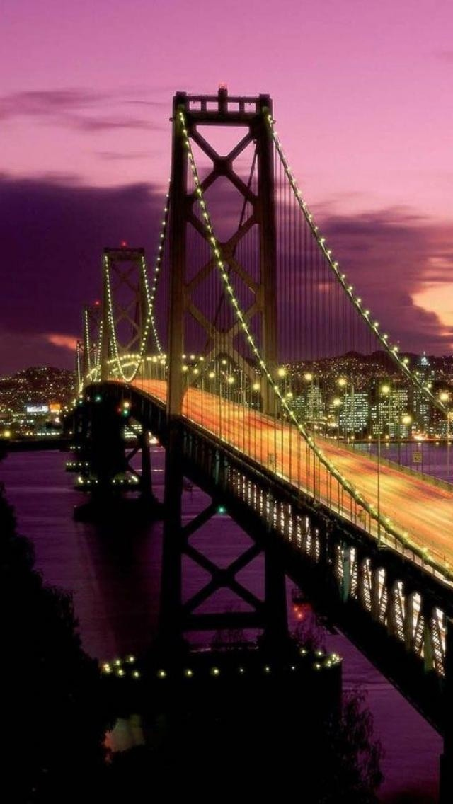 El puente de San Francisco en todo su esplendor nocturno