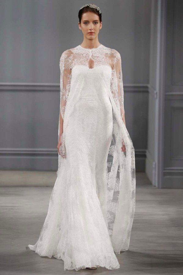 Capas de encaje: una solución muy chic para completar tu vestido de novia
