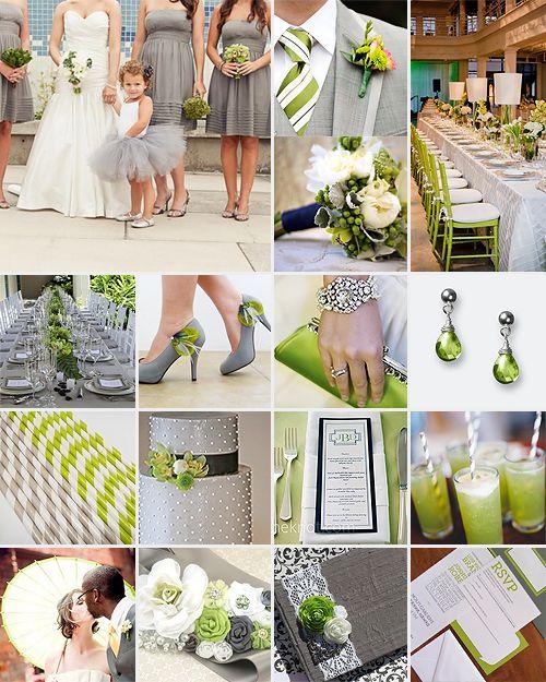 Toques de color verde en tu boda para poder combinar con el gris