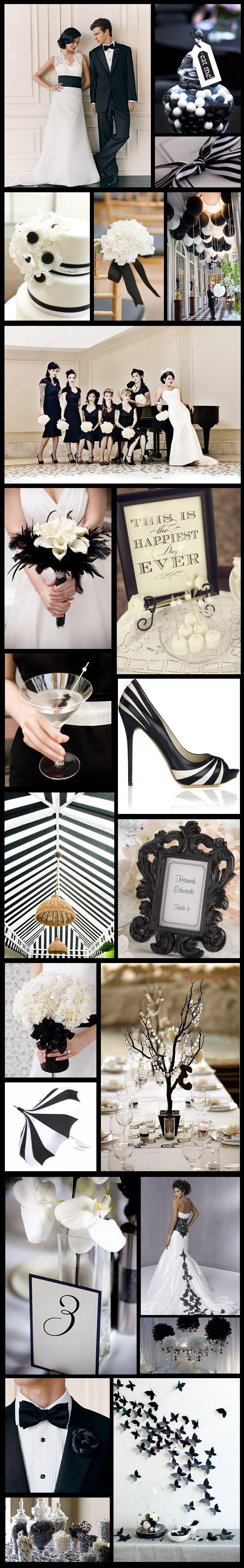 Inspírate con los detalles en blanco y negro para una boda de ensueño