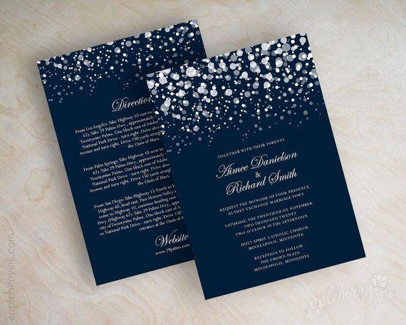 Invitación moderna en azul marino