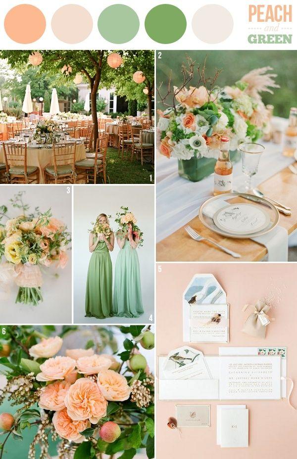 Combina colores como el verde y el melocotón para una boda romántica y moderna