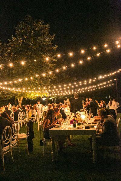 Decoración nocturna muy romántica para boda