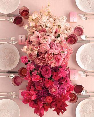 Centro de mesa, sencillo y elegante con toques degradados