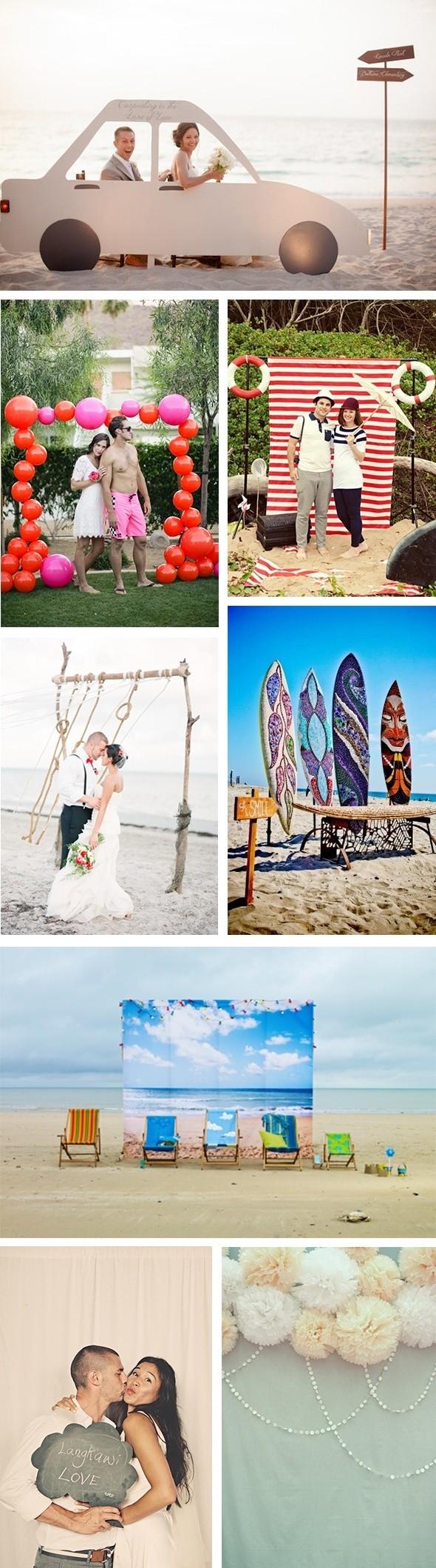 Para las bodas en la playa, un photocall temático