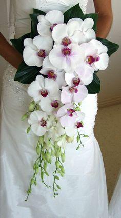 Las orquídeas componen este precioso ramo en forma de cascada