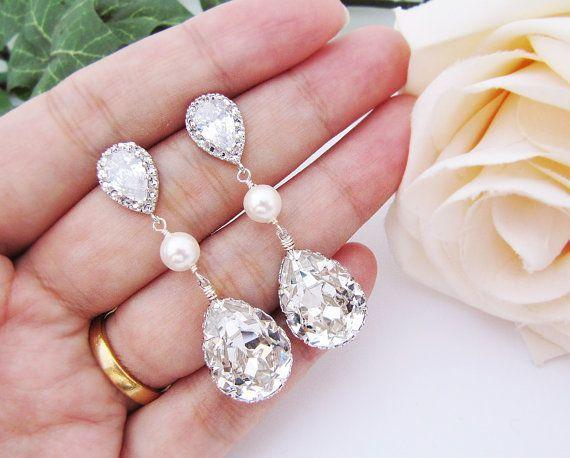 Pendientes para novia con perlas