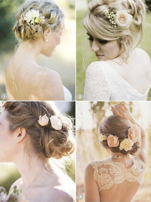 Recogidos elegantes para novias con flores