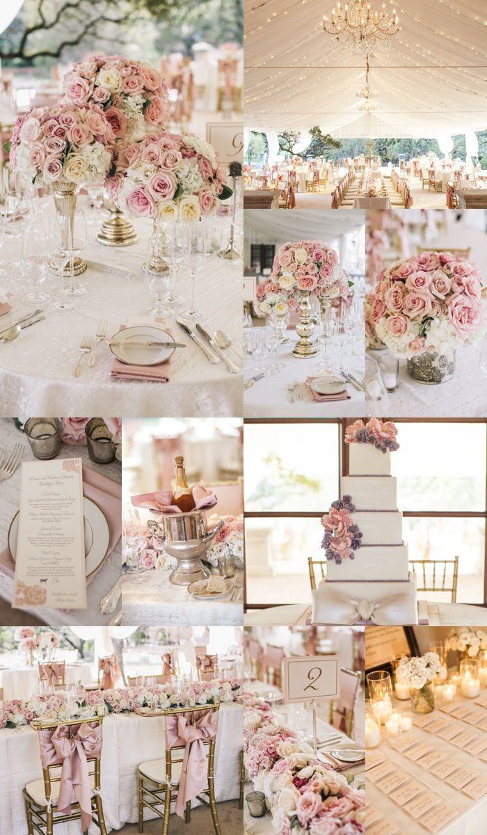 Una bonita recepción bañada de toques rosados y oro