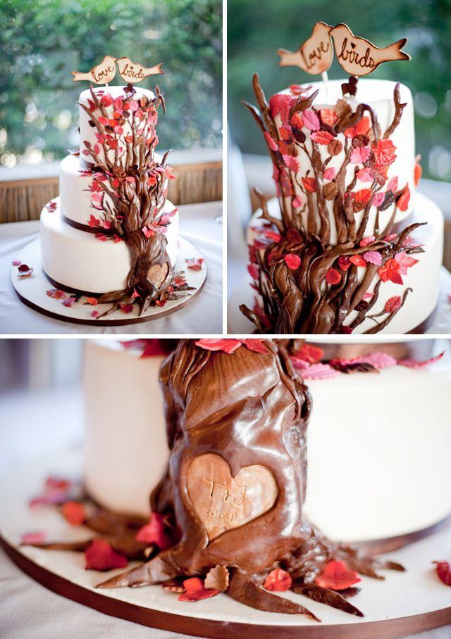 ¿Qué te parece una tarta de boda en forma de árbol con chocolate?