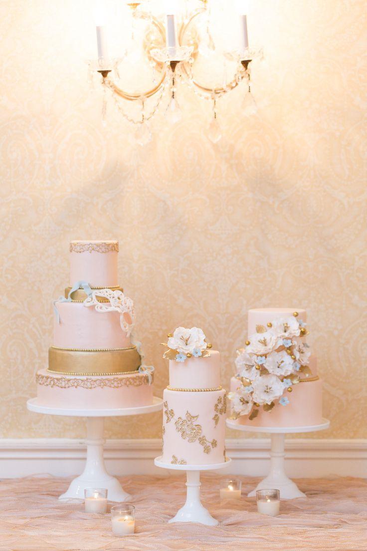 Tartas de boda sencillas y en tonos rosa