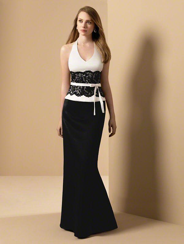 Vestido sirena con encaje en negro para las damas de honor