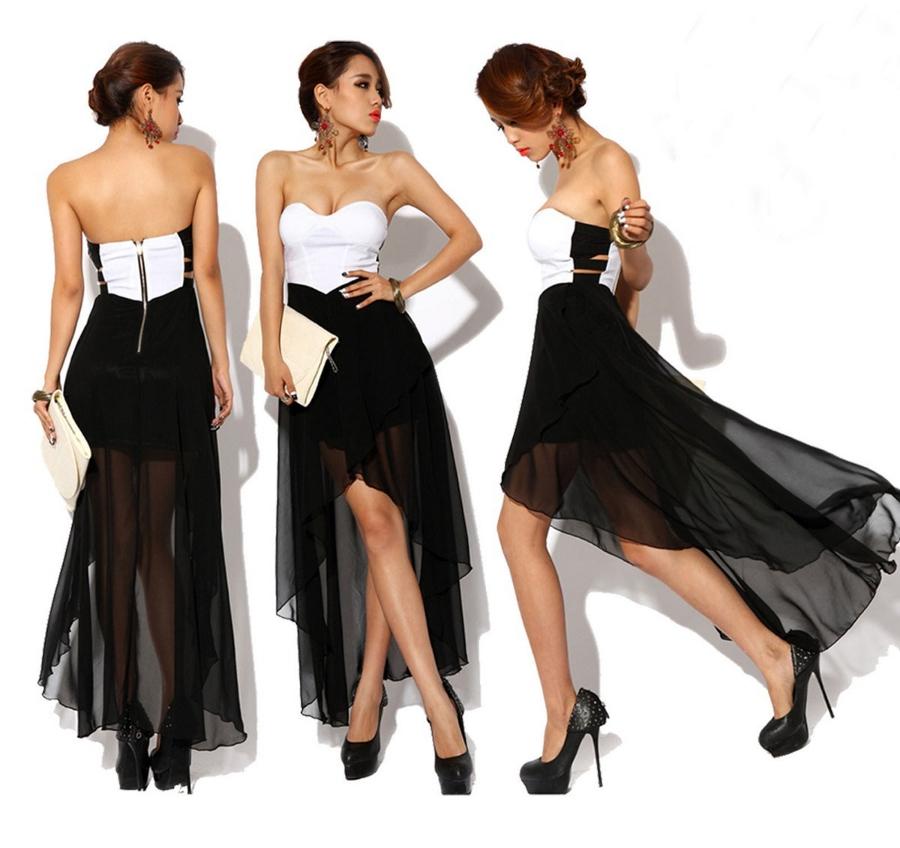 Vestido de corte asimétrico y falda de gasa