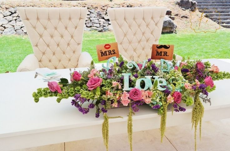 Mensajes en las mesas de novios