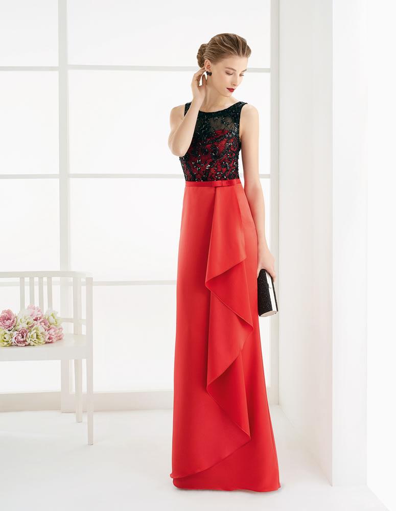 Vestido de fiesta combinado en rojo y negro