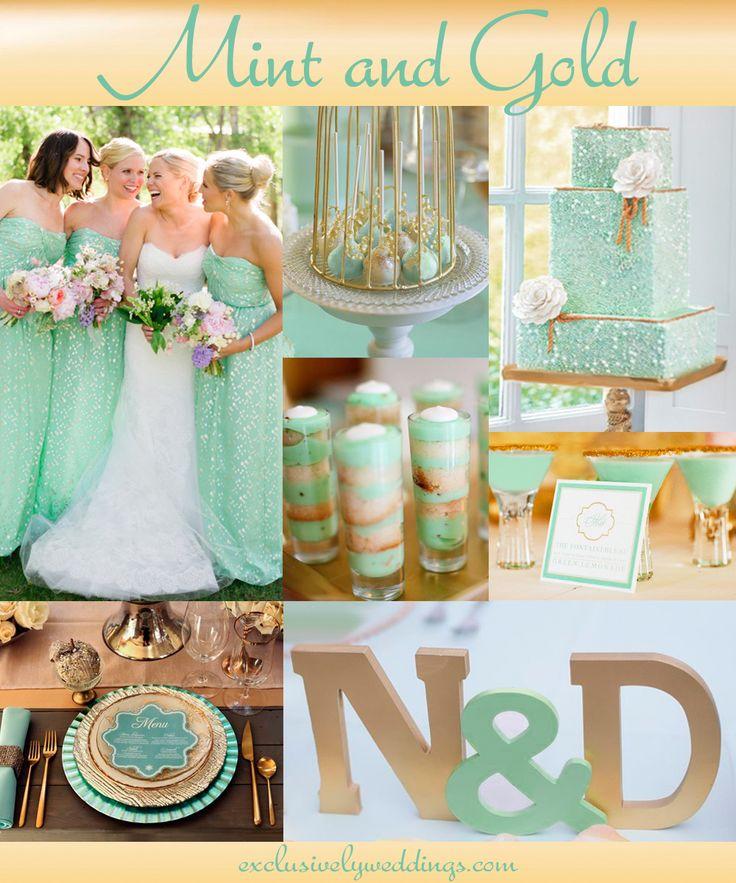 El toque de lujo para una boda viene de la mano del color menta y el dorado