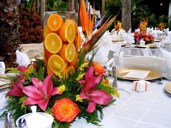 Jarrones de boda con fruta fresca