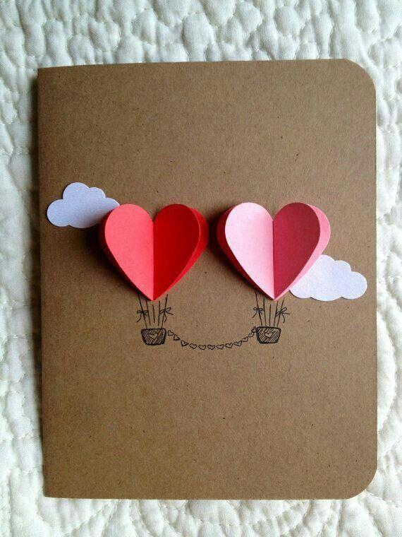 Tarjeta para enamorados con dos globos de corazón