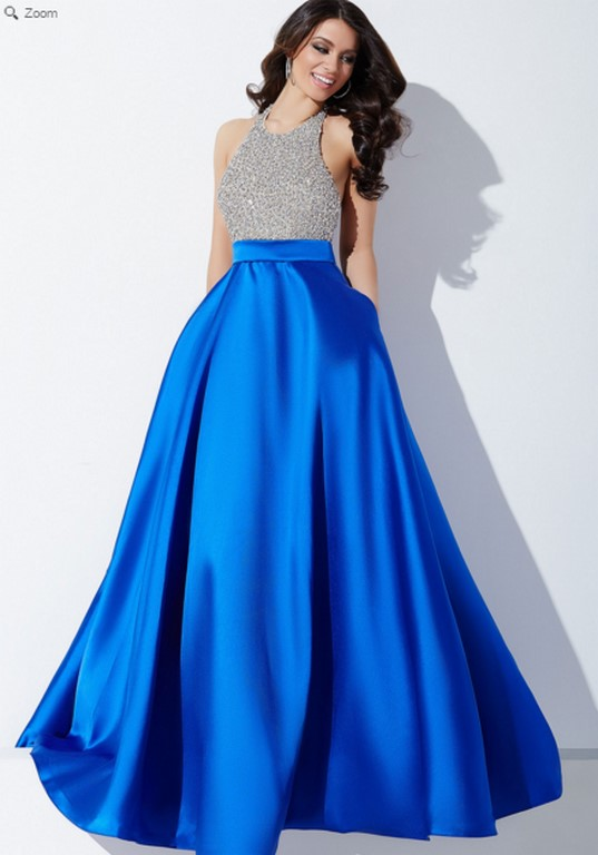 Vestido precioso con falda satinada en azul real