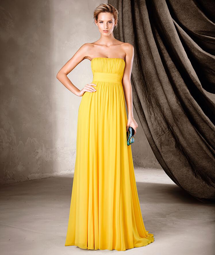 Vestido plisado y strapless en color amarillo