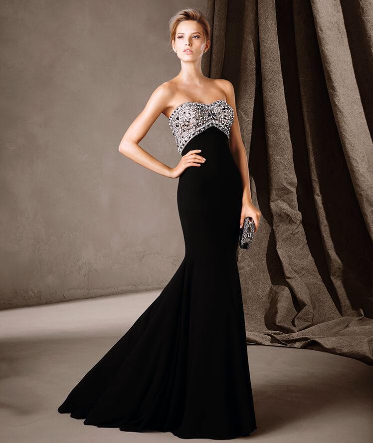 Pedrería y lujo para un vestido sirena como éste
