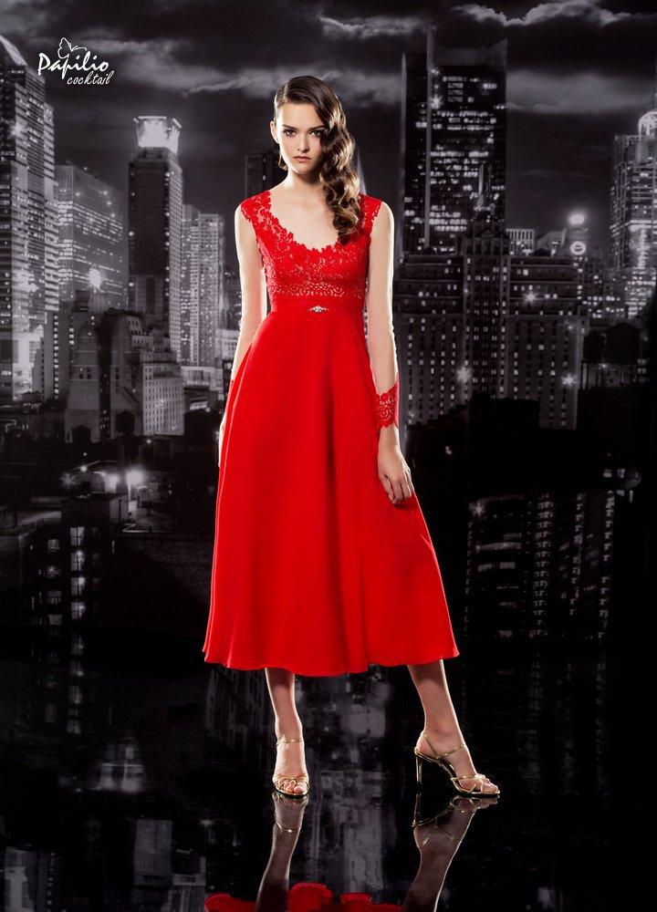 Vestido midi en color rojo