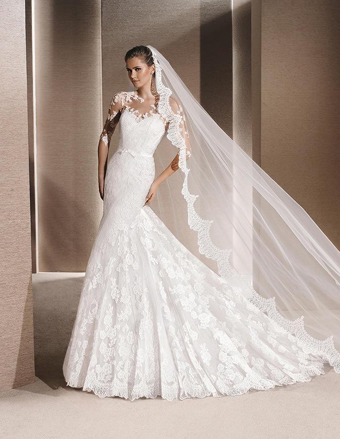 Vestido sirena con velo por La Sposa