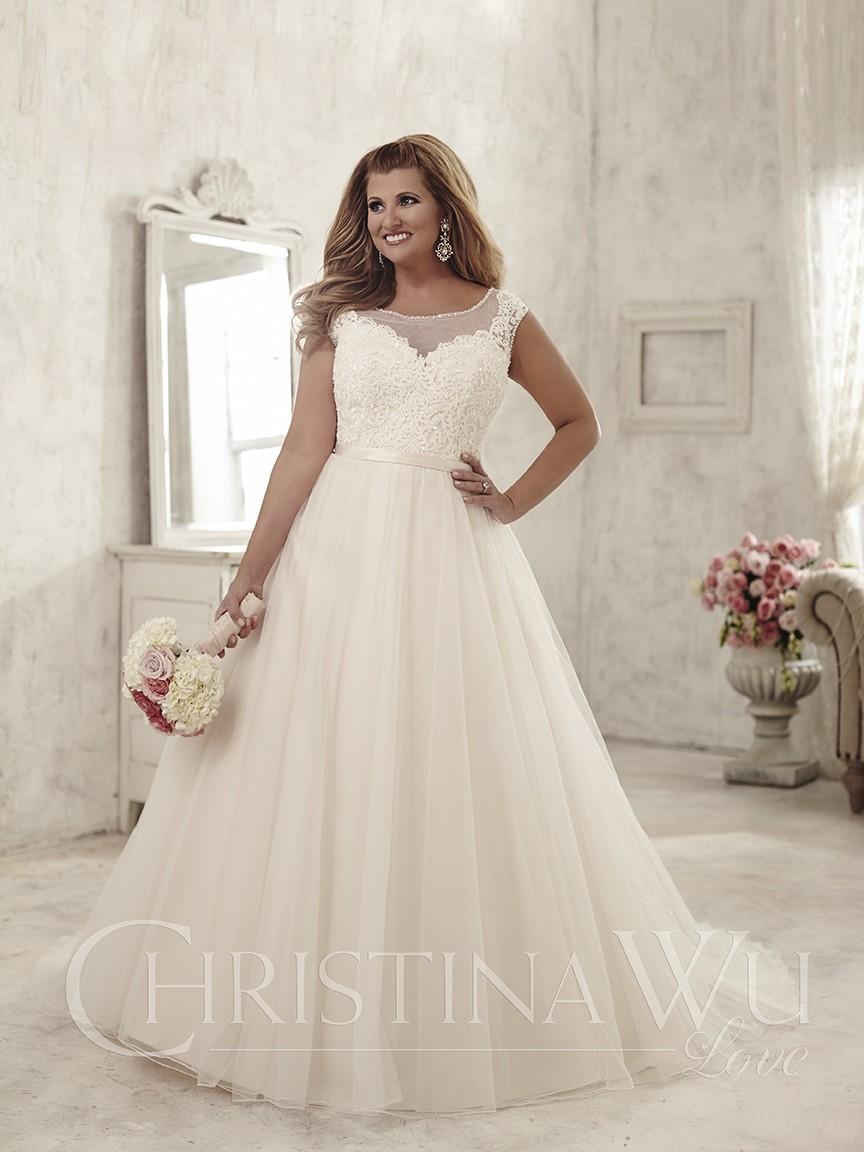 Vestido de novia plus size evasé con escote fantasía