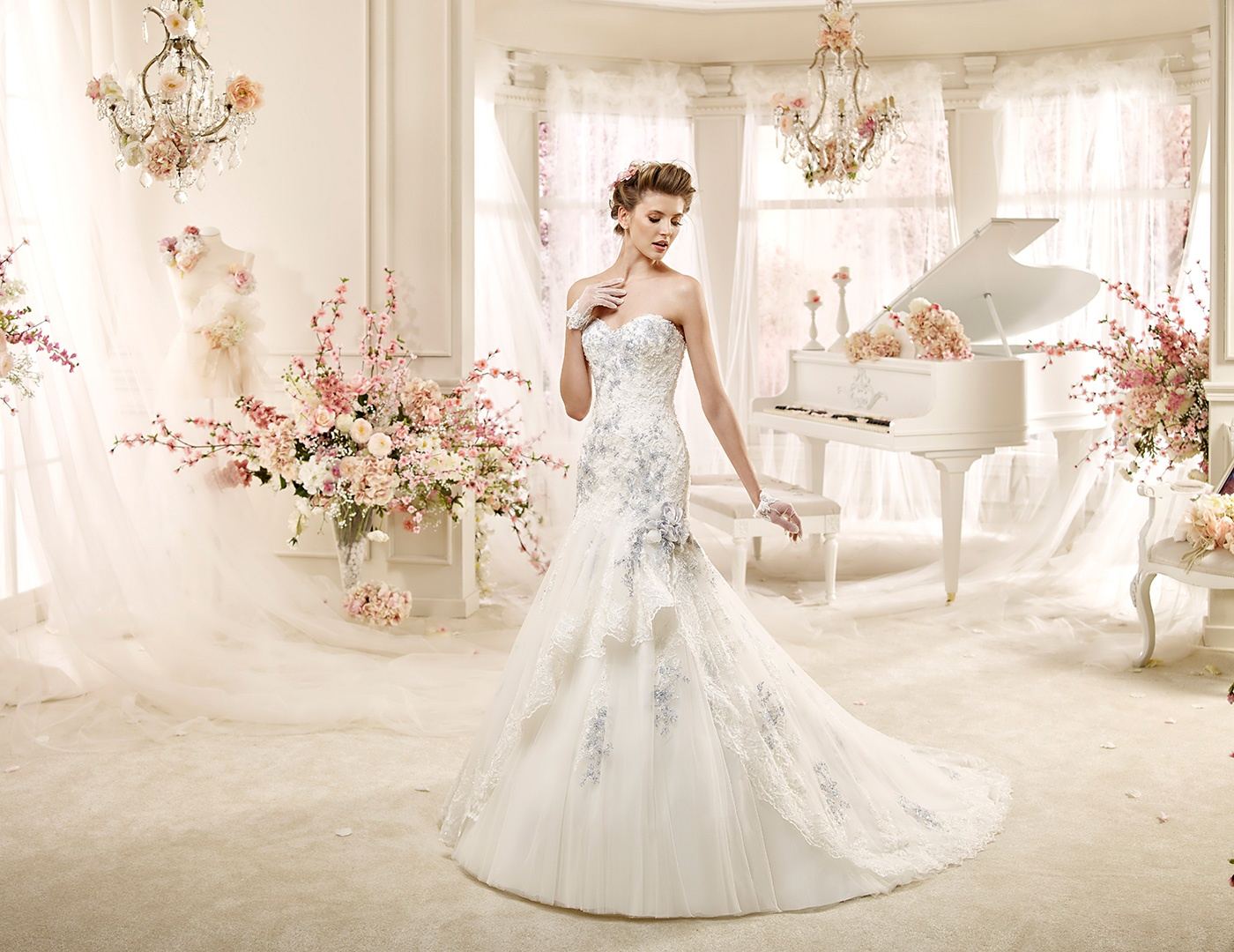 La elegancia del vestido con bordados
