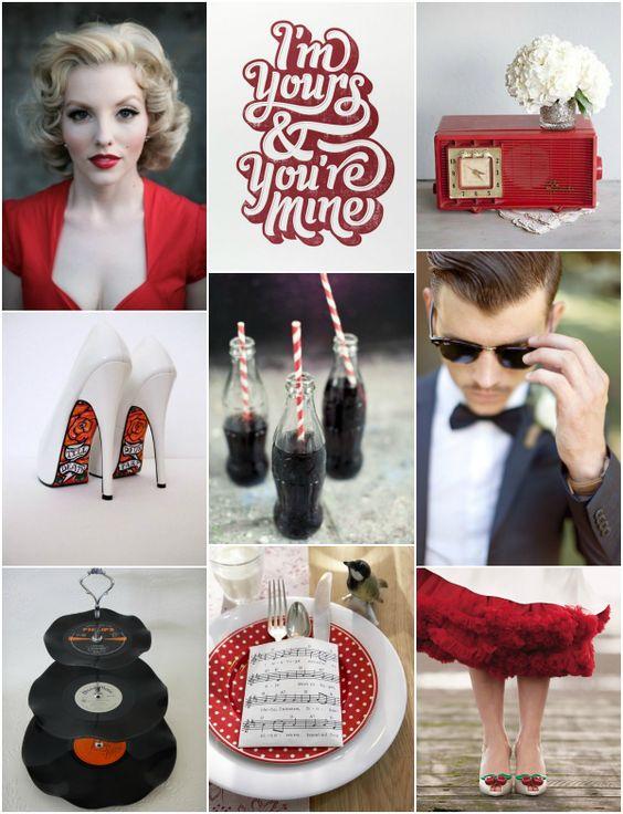 El rojo es el color protagonista de las bodas basadas en los años 50